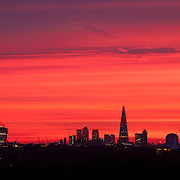 Stunning sunrise over the London Skyline with view of the Shard