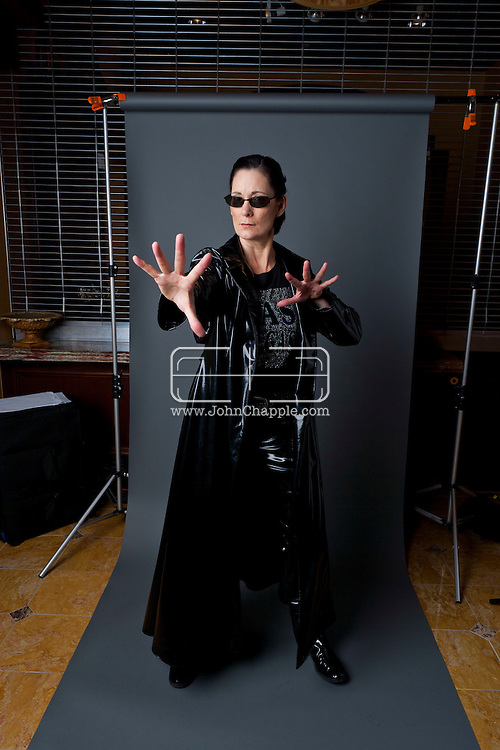 24th February 2011. Las Vegas, Nevada.  Celebrity Impersonators from around the globe were in Las Vegas for the 20th Annual Reel Awards Show. Pictured is Deborah Smith Ford as Trinity from The Matrix movies Photo © John Chapple / www.johnchapple.com..