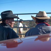 100214      Cayla Nimmo<br /> <br /> Traditional trail riders Henry D. Clark and Dexter Sam talk with each other outside the Beclabito chapter house Thursday afternoon.
