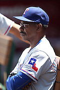 ANAHEIM, CA - MAY 4:  Manager Ron Washington #38 of the Texas Rangers looks on during the game against the Los Angeles Angels of Anaheim at Angel Stadium on Sunday, May 4, 2014 in Anaheim, California. The Rangers won the game 14-3. (Photo by Paul Spinelli/MLB Photos via Getty Images) *** Local Caption *** Ron Washington