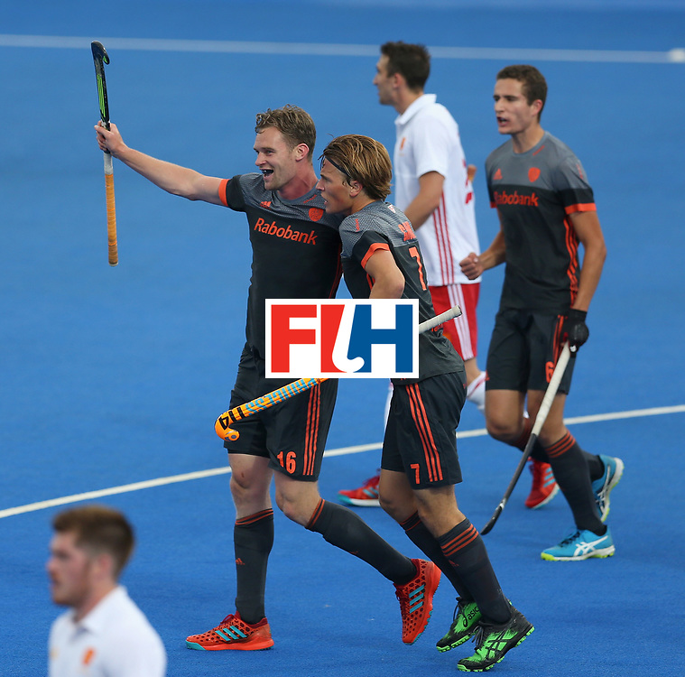 LONDON, ENGLAND - JUNE 24:  Mirco Pruijser of the Netherlands celebrates scoring their teams first goal during the semi-final match between England and the Netherlands on day eight of the Hero Hockey World League Semi-Final at Lee Valley Hockey and Tennis Centre on June 24, 2017 in London, England.  (Photo by Steve Bardens/Getty Images)
