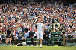© London News Pictures.. 03/07/2013. Andrew Murray celebrates winning his match with Fernando Verdasco, Spain in the men's quarter finals at the 2013 Wimbledon Lawn Tennis Championships . Andy Murray went on to win in the final becoming the first British male to win the tournament in 77 years. Photo credit: Mike King/LNP