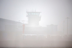 © Licensed to London News Pictures. 05/02/2019. Leeds UK. Aircraft are barely visible at Leeds Bradford airport this morning as thick fog covers part's of Yorkshire. Photo credit: Andrew McCaren/LNP