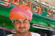 The owner of a turban shop outside his store in Jodhpur, Rajasthan, India