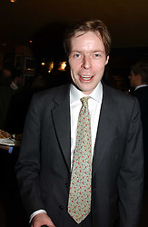 LORD BINGHAM, son and heir of the missing 7th Earl of Lucan at a pre-screening party of a film by Fiona Sanderson entitled 'The Hunt For Lord Lucan' held at Langans, 254 Old Brompton Road, London SW7 on 8th November 2004.<br /><br />NON EXCLUSIVE - WORLD RIGHTS