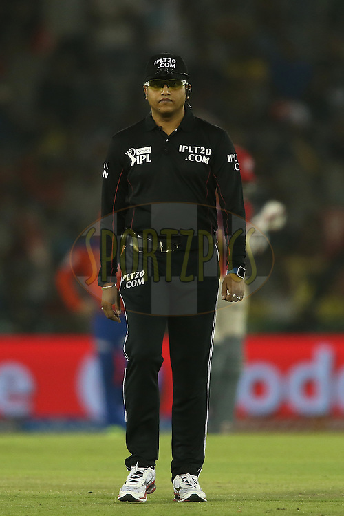 Umpire Vineet Kulkarni during match 3 of the Vivo Indian Premier League (IPL) 2016 between the Kings XI Punjab and the Gujarat Lions held at the IS Bindra Stadium, Mohali, India on the 11th April 2016<br /> <br /> Photo by Shaun Roy/ IPL/ SPORTZPICS