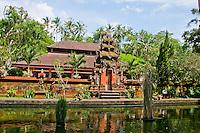 Pura Kebo Edan Hindu Temple with pond near Ubud, Bali, Indonesia