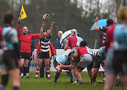 Clara Nielson of Bristol Ladies throws a line-out ball - Mandatory by-line: Paul Knight/JMP - 03/02/2018 - RUGBY - Cleve RFC - Bristol, England - Bristol Ladies v Harlequins Ladies - Tyrrells Premier 15s