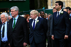 UK ENGLAND LONDON 20JUN16 - Former London mayor Boris Johnson (centre) and other parliamentarians pay their respects to murdered MP Jo Cox outside St. Margret's Church near Parliament Square, Westminster, London.<br /> <br /> jre/Photo by Jiri Rezac<br /> <br /> © Jiri Rezac 2016