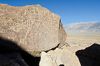 Sacred Owens Valley Paiute petroglyph site below the White Mountains in the Eastern Sierras, California.