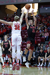 05 November 2017:  Brandon McCombs shoots over Taylor Bruninga during aLewis College Flyers and Illinois State Redbirds in Redbird Arena, Normal IL