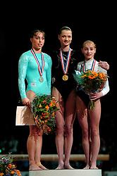 02-05-2004 TURNEN: EUROPEES KAMPIOENSCHAP DAMES: AMSTERDAM<br /> Elisabeth Tweddle ENG, Svetlana Khorkina RUS en Irina Krasnynska UKR<br /> ©2004-www.fotohoogendoorn.nl