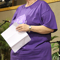 (Floyd Ingram / Buy at photos.chickasawjournal.com)<br /> Cancer survivor and Relay for Life Supporter Pam Curry gave the keynote address to start Chickasaw County Relay for Life at Thorn Church of God, Saturday, April 30, 2016.