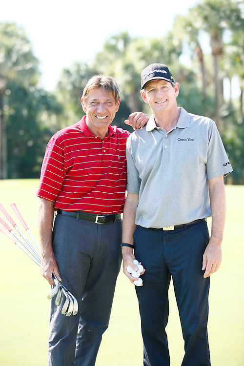 Hank Haney provides golf instruction to football legend Joe Namath for the Golf Channel.