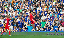 LIVERPOOL, ENGLAND - Saturday, October 1, 2011: Liverpool's Luis Alberto Suarez Diaz celebrates scoring the second goal against Everton during the Premiership match at Goodison Park. (Pic by David Rawcliffe/Propaganda)