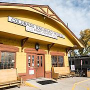 The main entrance of the Colorado Railroad Museum in Golden, Colorado.