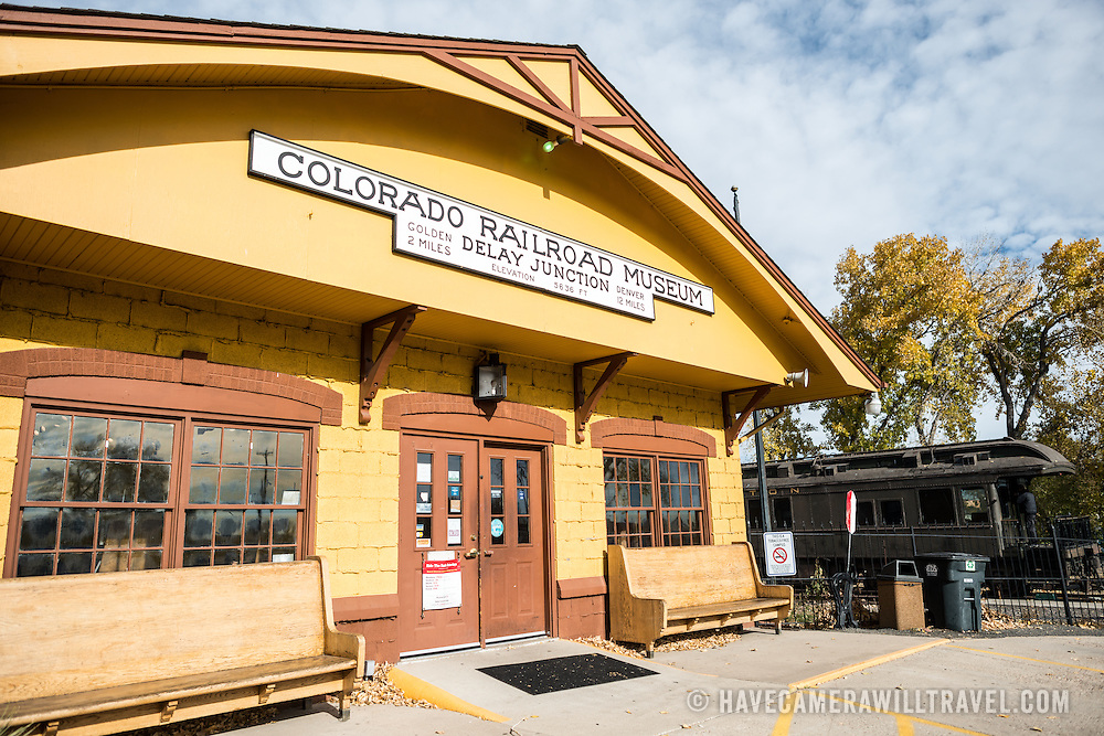 The main entrance of the Colorado Railroad Museum in Golden, Colorado.