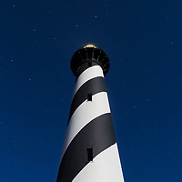 Light of full moon and stars above the Cape Hatteras Lighthouse. Cape Hatteras Ntional Seashore, NC