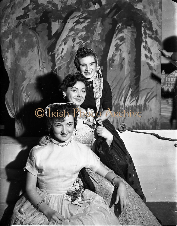 """27/11/1952<br /> 11/27/1952<br /> 27 November 1952<br /> Celine Murphy as """"Runaway Girl"""", O'Connell School Musical and Dramatic Society Presentation at O'Connell Hall. Fergus O'Kelly on left."""