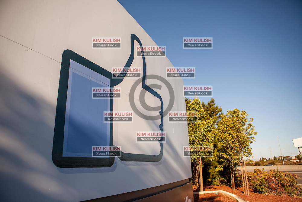 "Scenes of daily work and life at Facebook', Inc. USA Headquarters in Menlo Park, California.  The ""Like"" Facebook sign."