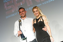 Igor Nenezic accepting the award in name of second best player Konstantin Vassiljev during the Slovenian men's football player of the year 2011 award at the SPINS XI  Nogometna Gala, on November 24, 2011 in Hotel Mons, Ljubljana, Slovenia. (Photo By Vid Ponikvar / Sportida.com)