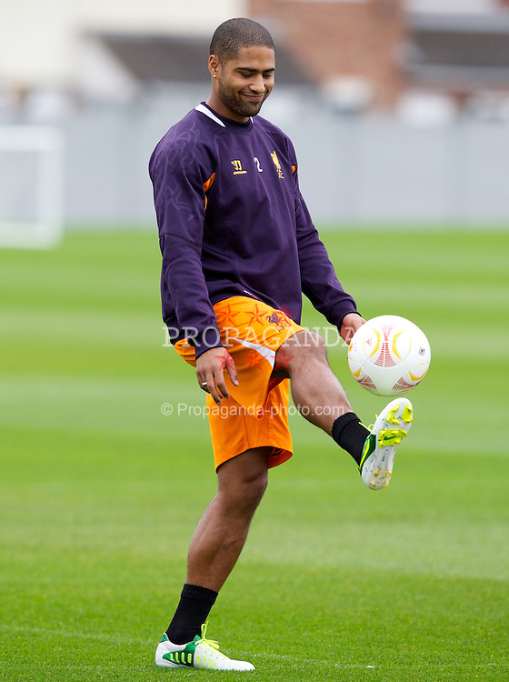 LIVERPOOL, ENGLAND - Wednesday, October 24, 2012: Liverpool's Glen Johnson during a training session at Melwood Training Ground ahead of the UEFA Europa League Group A match against FC Anji Makhachkala. (Pic by Vegard Grott/Propaganda)
