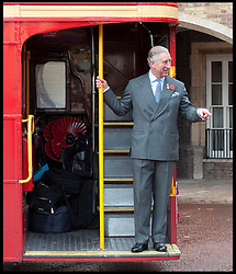 HRH Prince Charles steps off a route master bus meets ambassadors for the Royal British Legion launch London Poppy Day to raise £1m Thursday November 1, 2012. Photo By i-Images