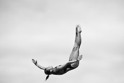 GOLD COAST, AUSTRALIA - OCTOBER 31:  (EDITORS NOTE: Image has been converted to black and white.) Melissa Wu of Australia competes in the Women's 10m Platform Final during the FINA Diving Grand Prix on October 31, 2015 on the Gold Coast, Australia.  (Photo by Matt Roberts/Getty Images)