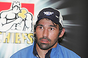 Bulls captain Victor Matfield speaking at the press conference following the round 9 Super 14 rugby union match between the Chiefs and the Bulls at Waikato Stadium, Hamilton on Saturday 8 April 2006.The game ended in a 26-26 draw.  Photo: Brett O'Callaghan/PHOTOSPORT<br /> <br /> 080406