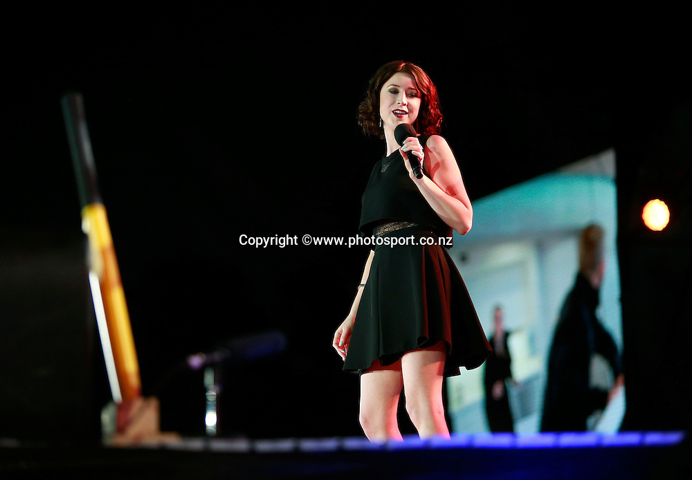 Hayley Westenra performs on stage during the ICC Cricket World Cup Opening Ceremony venue staged in Hagley Park, Christchurch. 12 February 2015 Photo: Joseph Johnson / www.photosport.co.nz