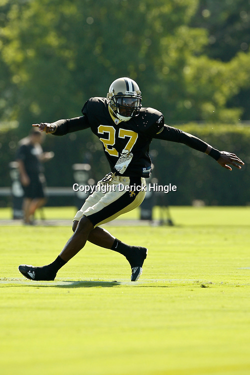 July 31, 2010; Metairie, LA, USA; New Orleans Saints cornerback Malcolm Jenkins (27) during a training camp practice at the New Orleans Saints practice facility. Mandatory Credit: Derick E. Hingle