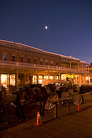 Horse Carriages in Front of Heywood's Building at Moonrise, Old Sacramento, California