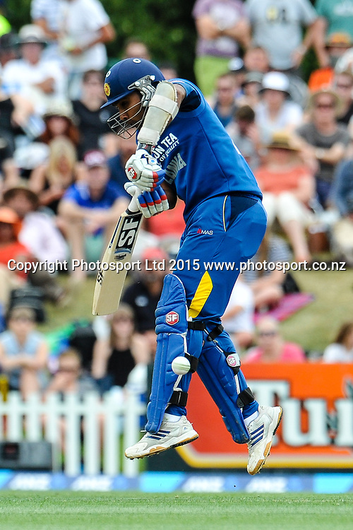 Mahela Jayawardene of Sri Lanka blocks a ball in the first ODI, Black Caps v Sri Lanka, at Hagley Oval, Christchurch, 11 January 2015. Photo:John Davidson/www.photosport.co.nz