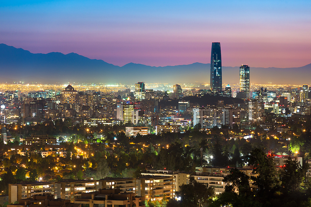 Panoramic view of Santiago de Chile with the wealthy Las Condes and Vitacura districts <br />