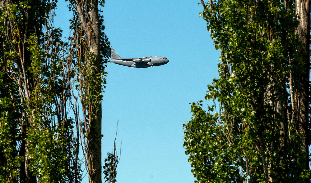 A United States Airforce transport plane low level flying near Rangiwahia, northern Manawatu, New Zealand, Friday, November 06, 2015. Credit:SNPA / Malcolm Pullman