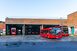 The Arriva bus depot in Thornton Heath near Croydon where it is thought that the 198 bus and its driver are based, following Sunday's bus crash in which 19 people were injured including a teenage girl who is in critical condition. The bus driver was arrested on suspicion of drug driving. Croydon, South London November 12 2018.