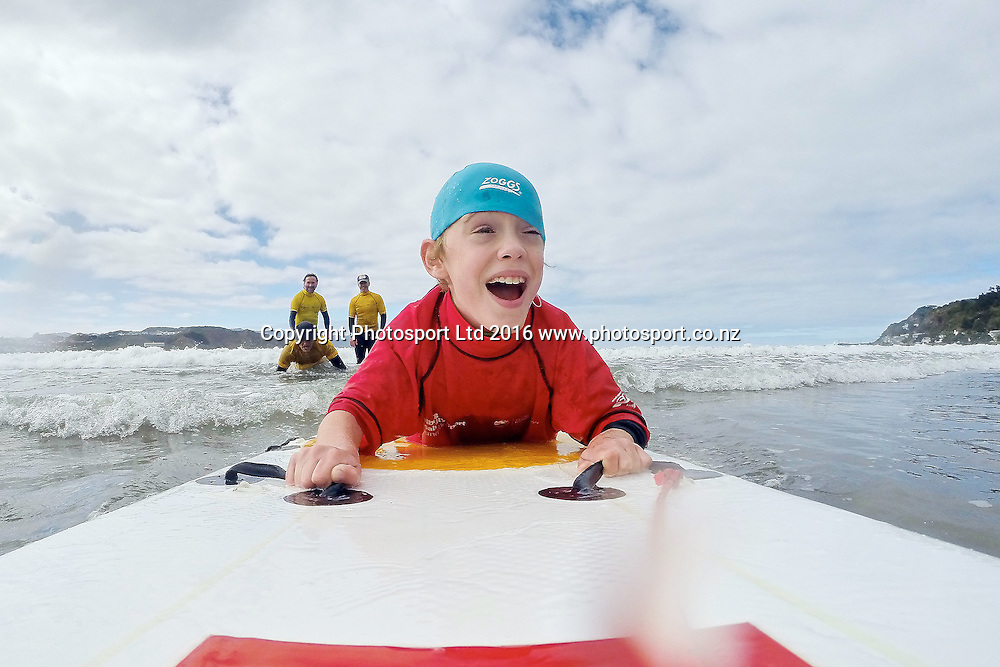 Liam surfing during the Flight Centre Foundation Halberg Surf Day, Lyall Bay, Wellington, New Zealand. Saturday 12 March 2016. Copyright Photo: Mark Tantrum/www.Photosport.co.nz