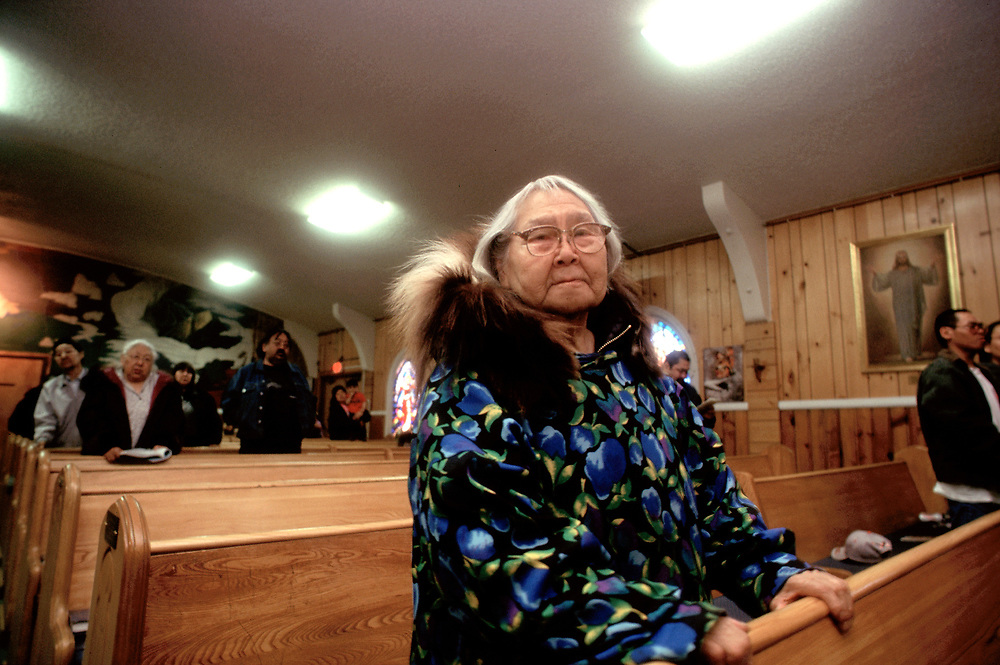 Dorothy during the service in I&ntilde;upiaq at the Presbiterian Church. The church is over one hundred years-old.<br /> <br /> May 18, 19:42