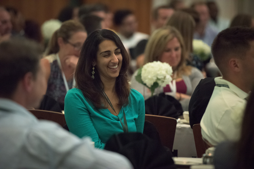 Noline Sroogi laughs as Tom Marchese, Executive-in-Residence and Assiciate Director of the Ohio University College of Business Honors Program, jokes with attendees during the Ohio MBA Leadership Development Workshop at the Walter Rotunda in Athens, Ohio on Saturday, August 27, 2016.