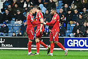 Goal - Britt Assombalonga (9) of Middlesbrough celebrates after he scores the equalising goal to make the score 2-2 during the EFL Sky Bet Championship match between Queens Park Rangers and Middlesbrough at the Kiyan Prince Foundation Stadium, London, England on 9 November 2019.