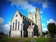 St Macculin's Church, Lusk, Co.Dublin, c.9th round tower, c.15th keep, c.19th church