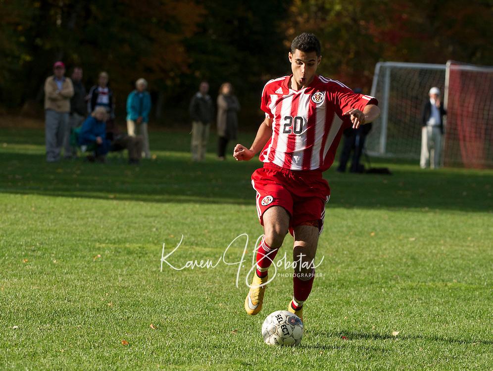 St Paul's School boys soccer versus Lawrence Academy.  ©2105 Karen Bobotas Photographer