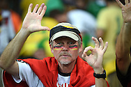 A fan of Germany points out the half time score during the 2014 FIFA World Cup match at Mineir&atilde;o, Belo Horizonte<br /> Picture by Stefano Gnech/Focus Images Ltd +39 333 1641678<br /> 08/07/2014