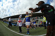 Carl Ablett (Captain) of Leeds Rhinos leads his side out against London Broncos during the Super 8s Qualifiers match at Trailfinders Sports Club, Ealing<br /> Picture by Stephen Gaunt/Focus Images Ltd +447904 833202<br /> 19/08/2018