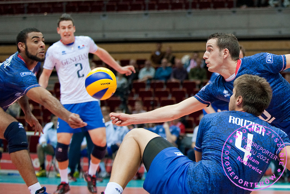 (R) Benjamin Toniutti from France receives the ball during the 2013 CEV VELUX Volleyball European Championship match between France and Slovakia at Ergo Arena in Gdansk on September 20, 2013.<br /> <br /> Poland, Gdansk, September 20, 2013<br /> <br /> Picture also available in RAW (NEF) or TIFF format on special request.<br /> <br /> For editorial use only. Any commercial or promotional use requires permission.<br /> <br /> Mandatory credit:<br /> Photo by © Adam Nurkiewicz / Mediasport