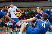 (R) Benjamin Toniutti from France receives the ball during the 2013 CEV VELUX Volleyball European Championship match between France and Slovakia at Ergo Arena in Gdansk on September 20, 2013.<br /> <br /> Poland, Gdansk, September 20, 2013<br /> <br /> Picture also available in RAW (NEF) or TIFF format on special request.<br /> <br /> For editorial use only. Any commercial or promotional use requires permission.<br /> <br /> Mandatory credit:<br /> Photo by &copy; Adam Nurkiewicz / Mediasport