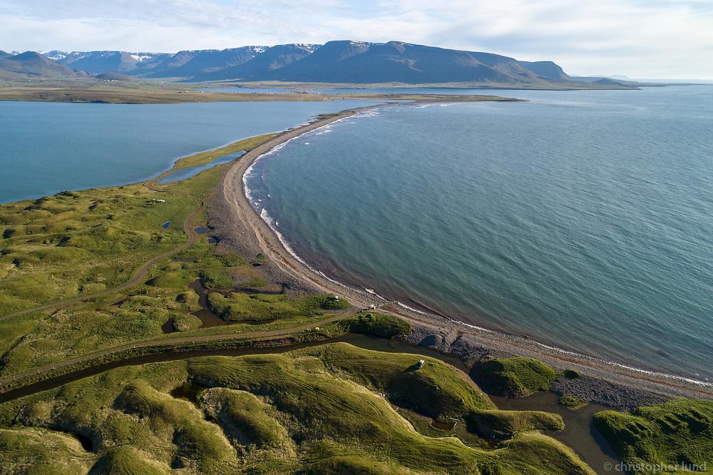 Hraunakrókur and Fljótavík, Aerial drone shot. North Iceland.