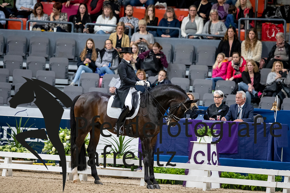 BARBANÇON Morgan (FRA), Sir Donnerhall II OLD<br /> Göteborg - Gothenburg Horse Show 2019 <br /> FEI Dressage World Cup™ Final I<br /> Int. dressage competition - Grand Prix de Dressage<br /> Longines FEI Jumping World Cup™ Final and FEI Dressage World Cup™ Final<br /> 05. April 2019<br /> © www.sportfotos-lafrentz.de/Stefan Lafrentz
