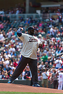 Sharrif Floyd, the 2013 first round draft pick of the Minnesota Vikings, throws out a ceremonial first pitch before a game between the Minnesota Twins and Seattle Mariners on June 2, 2013 at Target Field in Minneapolis, Minnesota.  The Twins defeated the Mariners 10 to 0.  Photo: Ben Krause