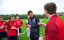 CARDIFF, WALES - Wednesday, August 29, 2012: Wales media take part in a Vauxhall sponsored training session with Wales national team manager Chris Coleman at the Vale of Glamorgan Hotel. (Pic by David Rawcliffe/Propaganda)